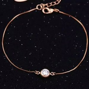 everrealli Jewelry - Rose Gold Solitaire Diamond Bezel Set Bracelet